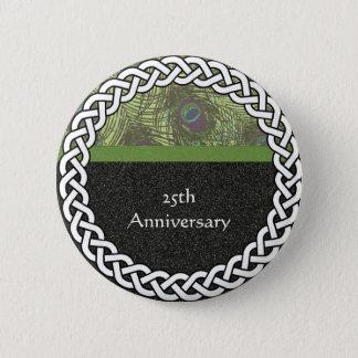 Elegant 25th Anniversary Lapel Pin/Button 2 Inch Round Button