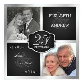 "Elegant 25th Anniversary Party Vow Renewal 5.25"" Square Invitation Card"