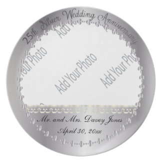 Elegant 25th Silver Anniversary Photo Keepsake Plate