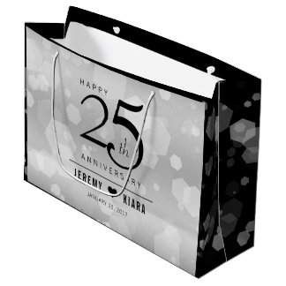 Elegant 25th Silver Wedding Anniversary Large Gift Bag