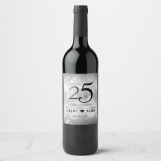 Elegant 25th Silver Wedding Anniversary Wine Label
