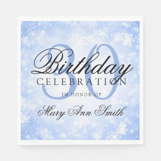Elegant 30th Birthday Blue Winter Wonderland Paper Napkin