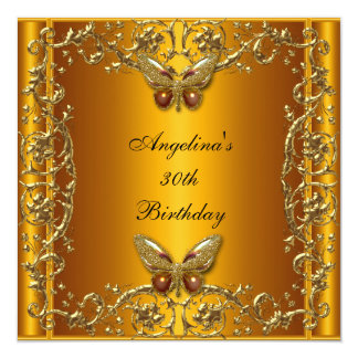 """Elegant 30th Birthday Butterfly Yellow Gold 5.25"""" Square Invitation Card"""