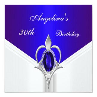 Elegant 30th Birthday Exotic Blue Silver Jewel Card