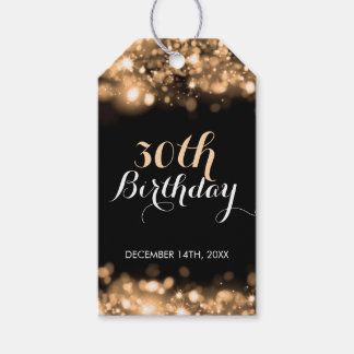 Elegant 30th Birthday Gold Sparkling Lights Pack Of Gift Tags