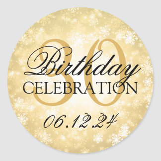 Elegant 30th Birthday Gold Winter Wonderland Classic Round Sticker