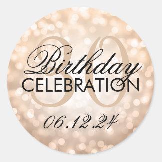 Elegant 30th Birthday Party Copper Glitter Lights Classic Round Sticker