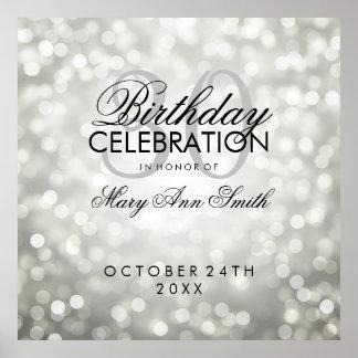 Elegant 30th Birthday Party Glitter Lights Silver Poster