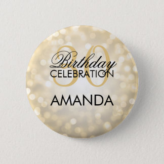 Elegant 30th Birthday Party Gold Glitter Lights 2 Inch Round Button