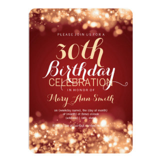 "Elegant 30th Birthday Party Gold Sparkling Lights 5"" X 7"" Invitation Card"
