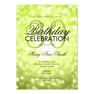 Elegant 30th Birthday Party Green Glitter Lights Card