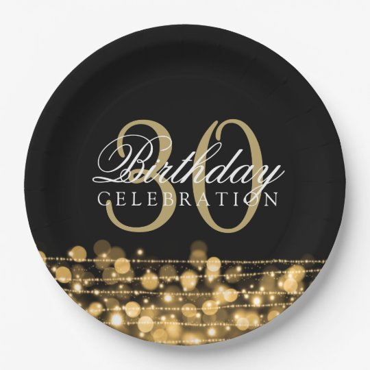 Elegant 30th Birthday Party Sparkles Gold 9 Inch Paper Plate