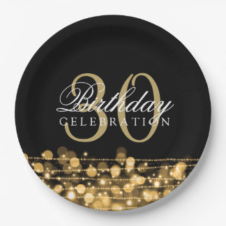 Elegant 30th Birthday Party Sparkles Gold Paper Plate