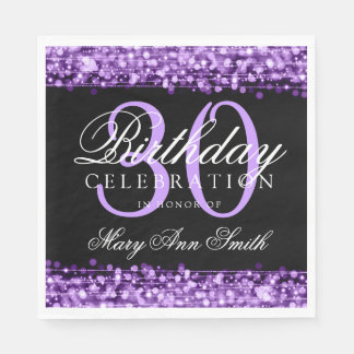 Elegant 30th Birthday Party Sparkles Purple Disposable Napkins