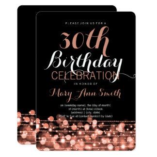 Elegant 30th Birthday Party Sparkles Rose Gold Card