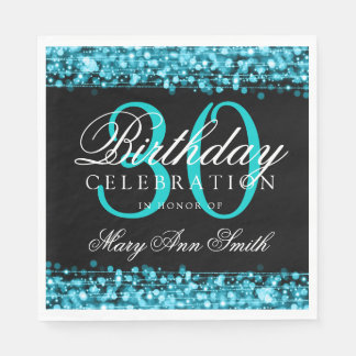 Elegant 30th Birthday Party Sparkles Turquoise Paper Napkin