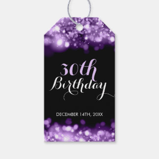Elegant 30th Birthday Purple Sparkling Lights Pack Of Gift Tags