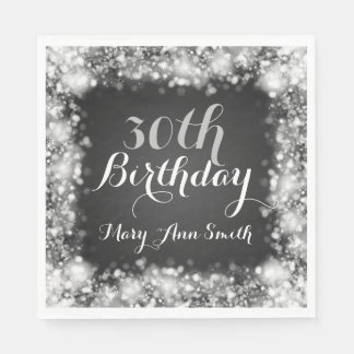 Elegant 30th Birthday Silver Sparkling Lights Paper Napkin