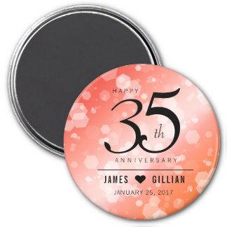 Elegant 35th Coral Wedding Anniversary Celebration 3 Inch Round Magnet