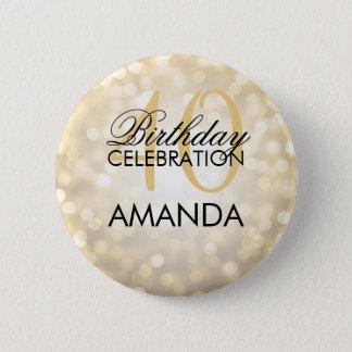 Elegant 40th Birthday Party Gold Glitter Lights 2 Inch Round Button