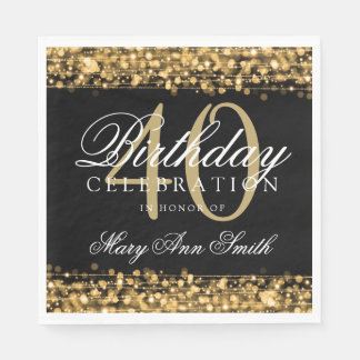 Elegant 40th Birthday Party Sparkles Gold Paper Napkin