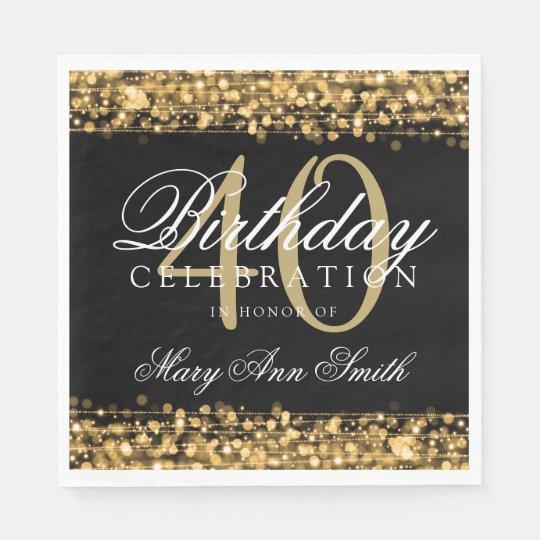 Elegant 40th Birthday Party Sparkles Gold Paper Napkin