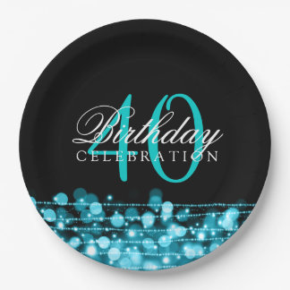 Elegant 40th Birthday Party Sparkles Turquoise Paper Plate