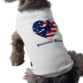 Elegant 4th of July damask red, white, and blue Doggie Tee Shirt