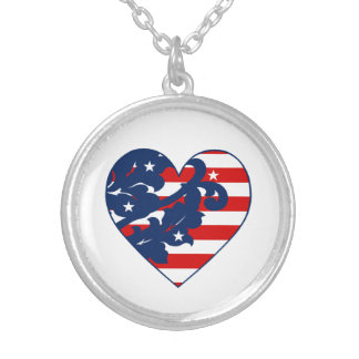 Elegant 4th of July damask Silver Plated Necklace