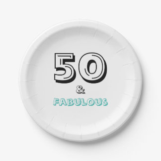 Elegant 50 and Fabulous Birthday Party Paper Plate 7 Inch Paper Plate