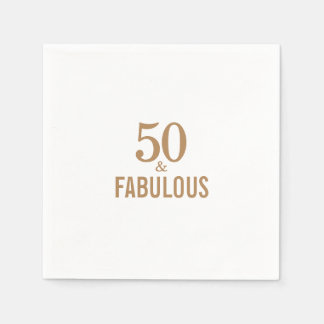Elegant 50 and fabulous brthday party paper napkin