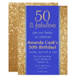 Elegant 50 & Fabulous 50th Birthday Invitation