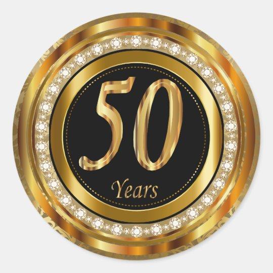 Elegant 50 Years Golden Wedding Anniversary Classic Round Sticker