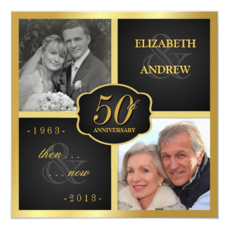 "Elegant 50th Anniversary Party Vow Renewal 5.25"" Square Invitation Card"
