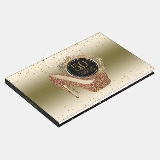 Elegant 50th Birthday | 50 & Fabulous Black Gold Guest Book