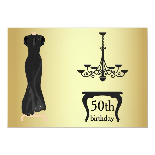 Elegant 50th Birthday Gold and Black Invite