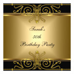 Elegant 50th Birthday Gold Black Art Deco Custom Invitations