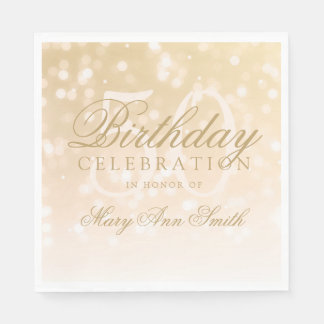 Elegant 50th Birthday Gold Bokeh Sparkle Lights Paper Napkins