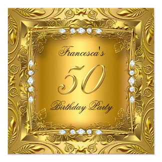 Elegant 50th Birthday Party Elite Gold Diamonds Card
