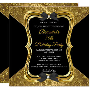 Elegant 50th Birthday Party Gold Golden Black Card