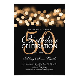 "Elegant 50th Birthday Party Gold Hollywood Glam 5"" X 7"" Invitation Card"