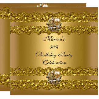 Elegant 50th Birthday Party Gold Pearl Jewel Card