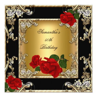 "Elegant 50th Birthday Party Gold Red Rose Black 5.25"" Square Invitation Card"