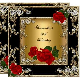 Elegant 50th Birthday Party Gold Red Rose Black Card