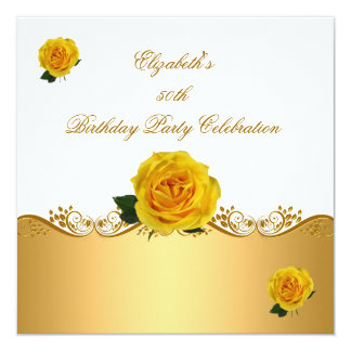 "Elegant 50th Birthday Party Gold Yellow Roses 5.25"" Square Invitation Card"