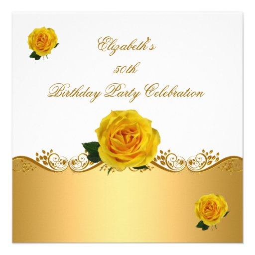 Elegant 50th Birthday Party Gold Yellow Roses Invite