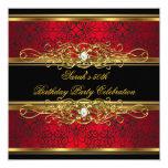 "Elegant 50th Birthday Party Red Black Gold Damask 5.25"" Square Invitation Card"
