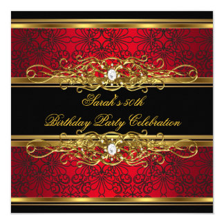 "Elegant 50th Birthday Party Red Black Gold Damask 5.25"" Square Invitation Card"