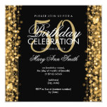 Elegant 50th Birthday Party Sparkles Gold 5.25x5.25 Square Paper Invitation Card