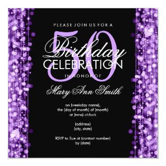 "Elegant 50th Birthday Party Sparkles Purple 5.25"" Square Invitation Card"